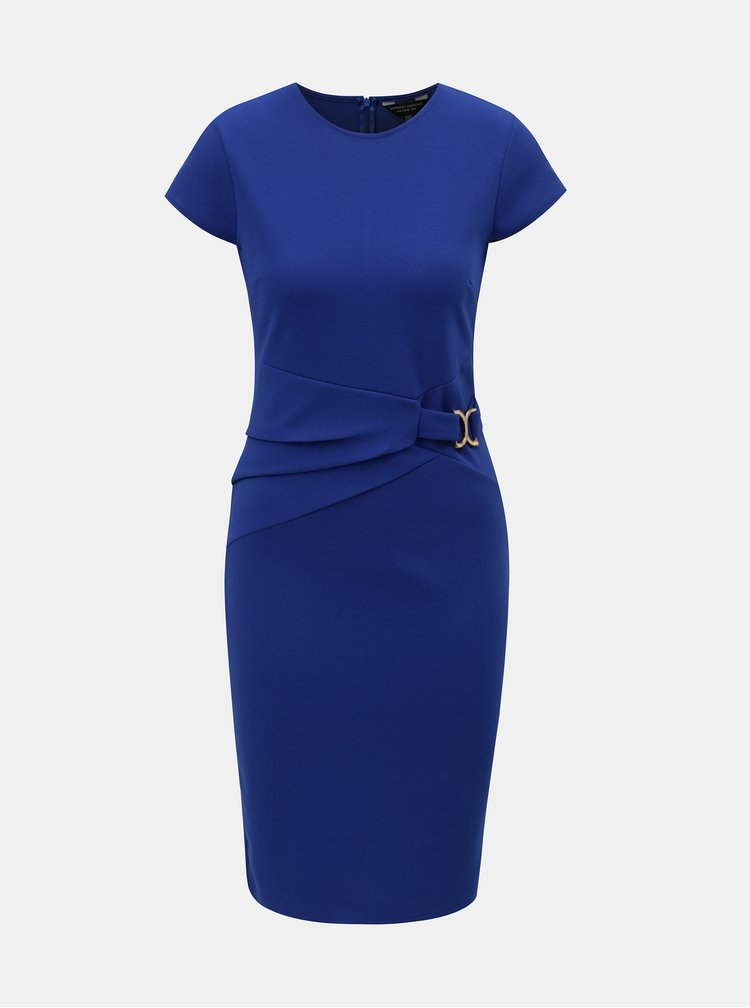 Modré pouzdrové šaty s detailem ve zlaté barvě Dorothy Perkins