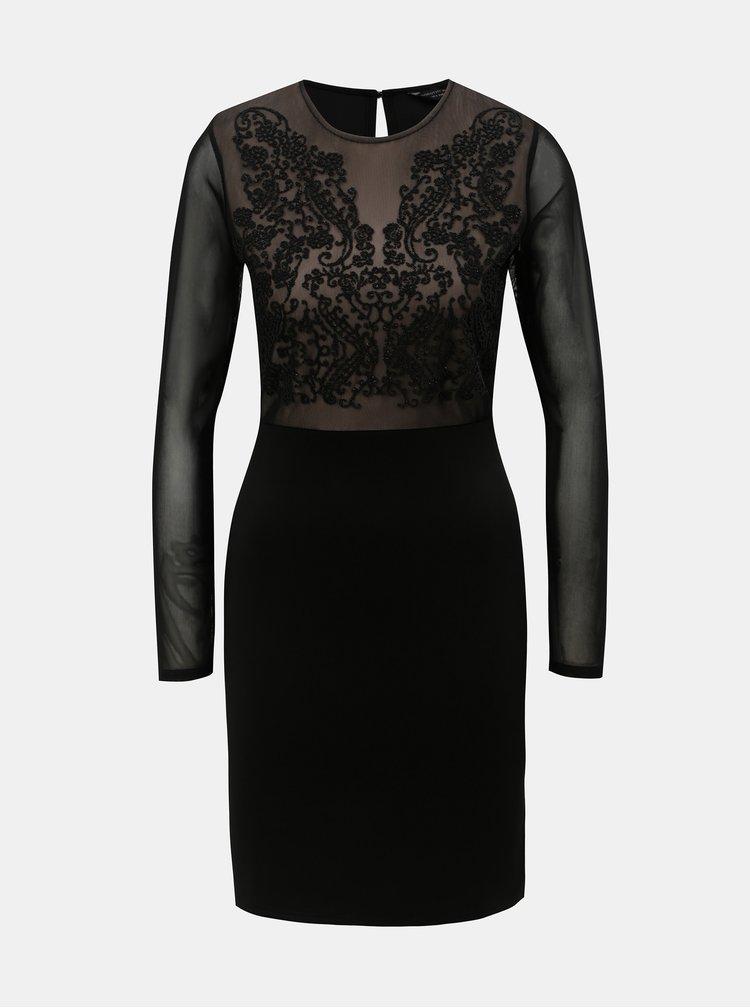 Černé pouzdrové šaty s průsvitnými rukávy Dorothy Perkins