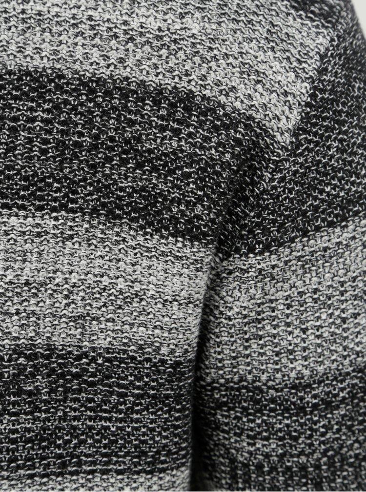 Pulover alb-negru in dungi Shine Original Roll edge