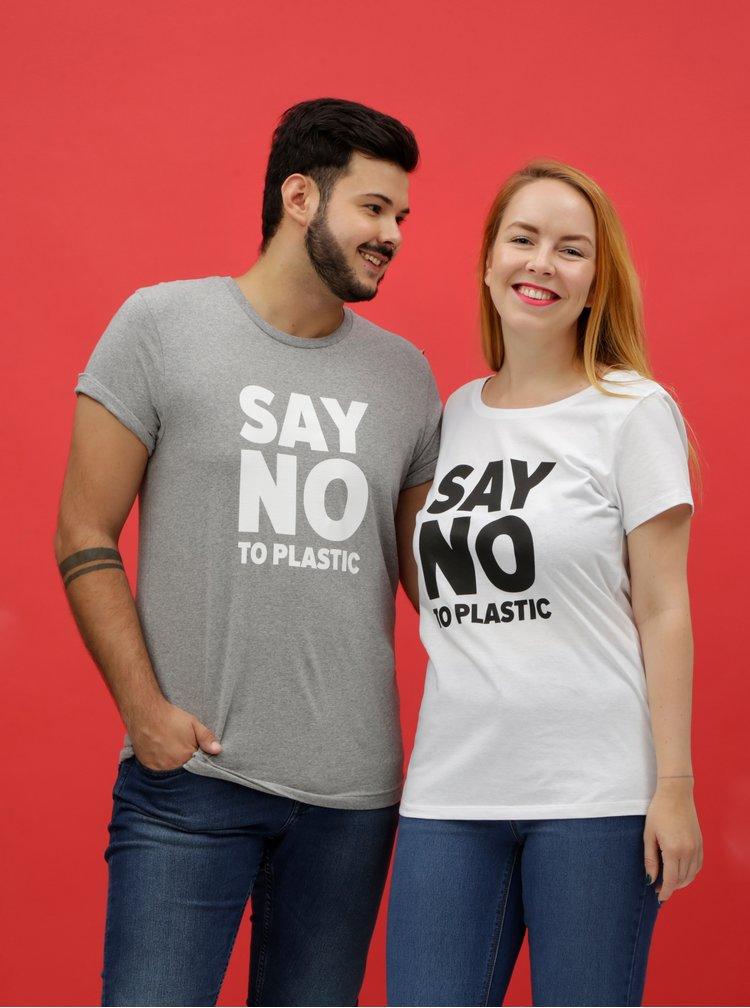 Šedé pánské žíhané tričko s potiskem ZOOT Original Say no to plastic