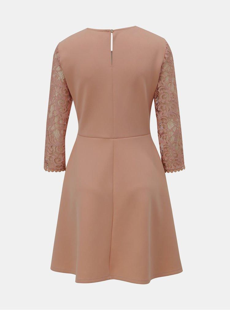 Světle růžové šaty s krajkovým topem Dorothy Perkins