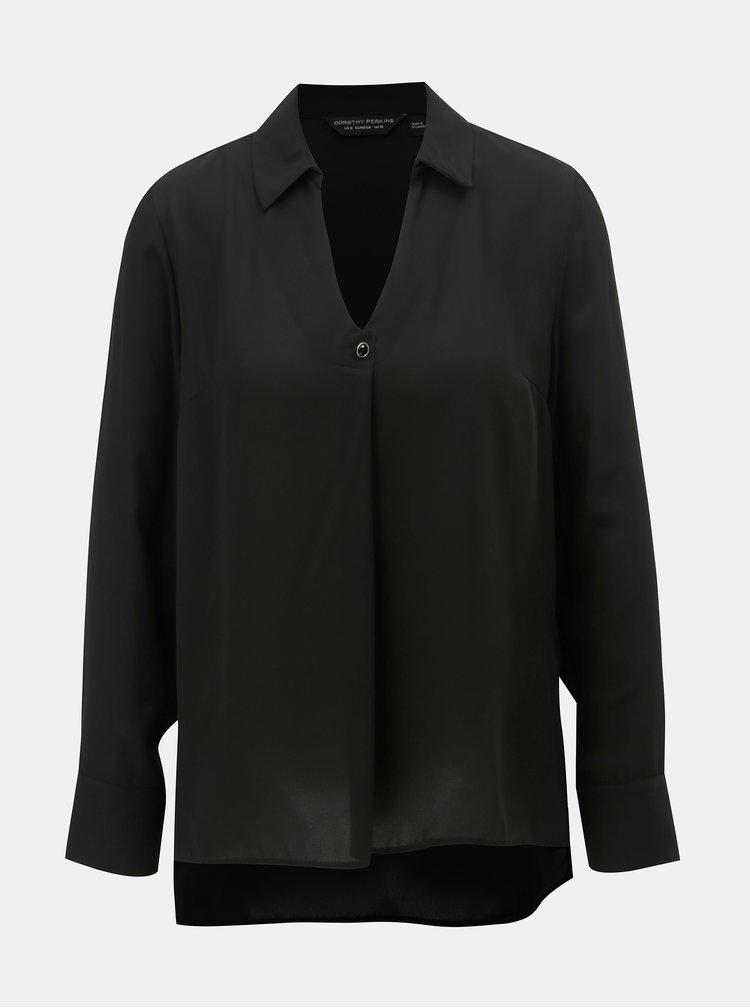 Bluza neagra cu guler ascutit Dorothy Perkins