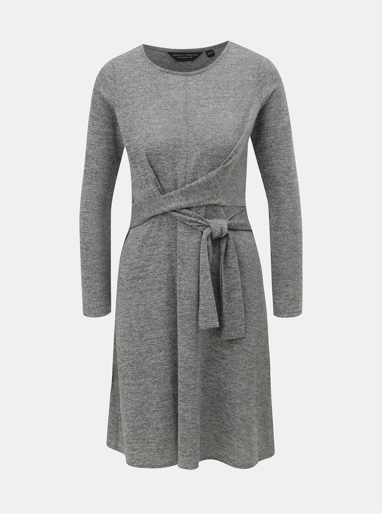 Sivé svetrové melírované šaty so zaväzovaním Dorothy Perkins