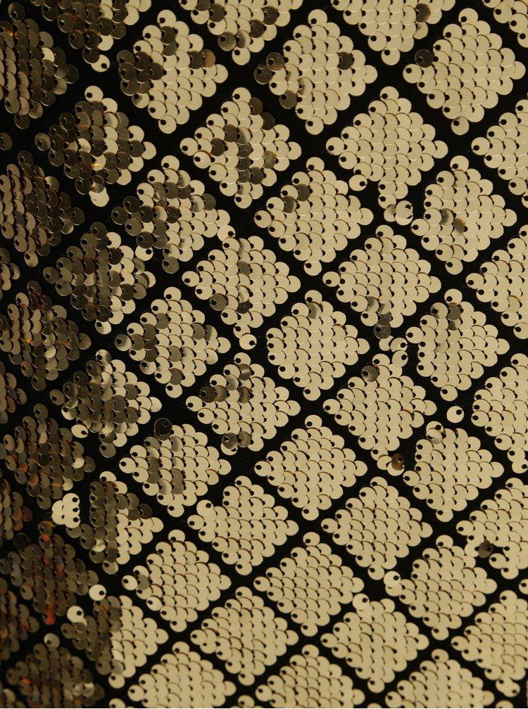 Flitrované kostkované minišaty ve zlaté barvě Dorothy Perkins Petite