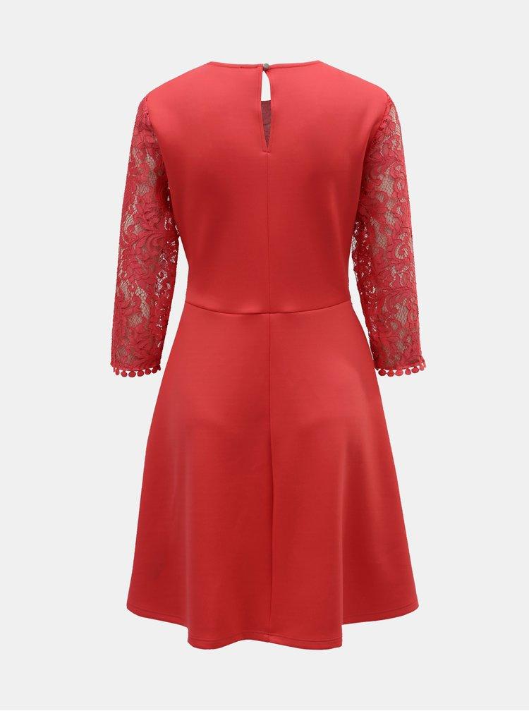 Červené šaty s krajkovým topem Dorothy Perkins