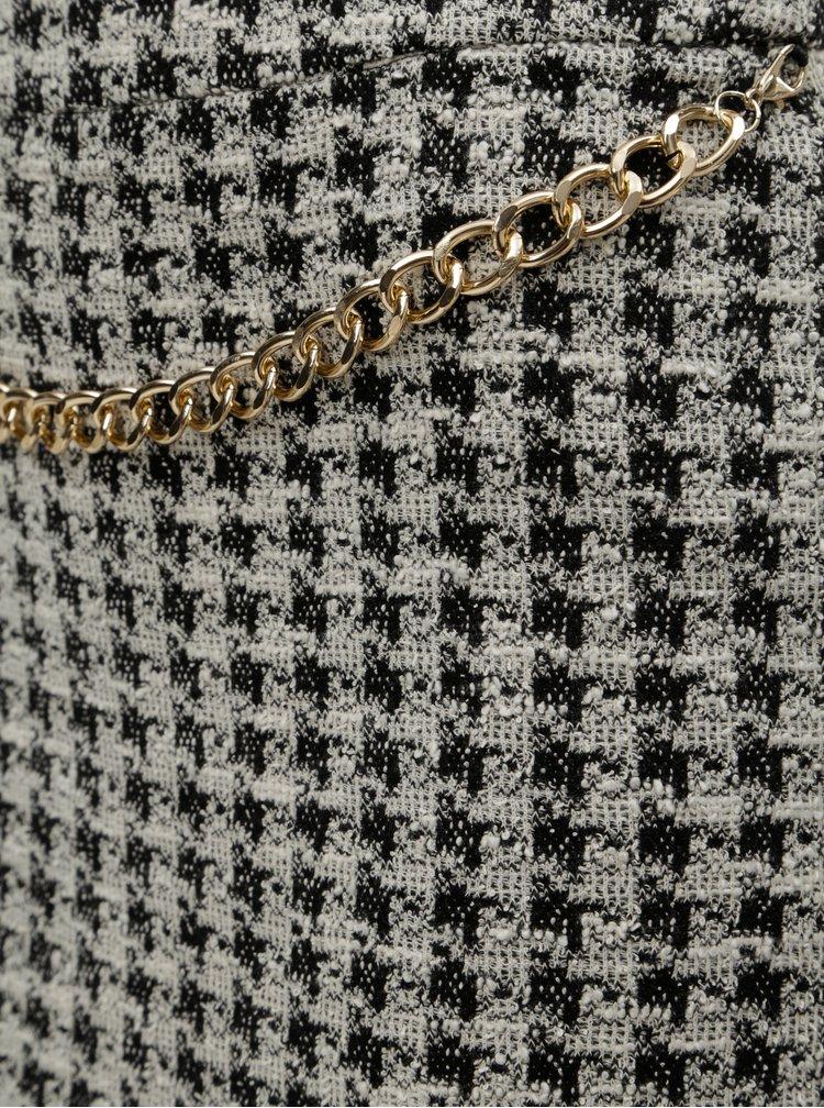 Čierno–krémová vzorovaná sukňa s retiazkou v zlatej farbe Dorothy Perkins