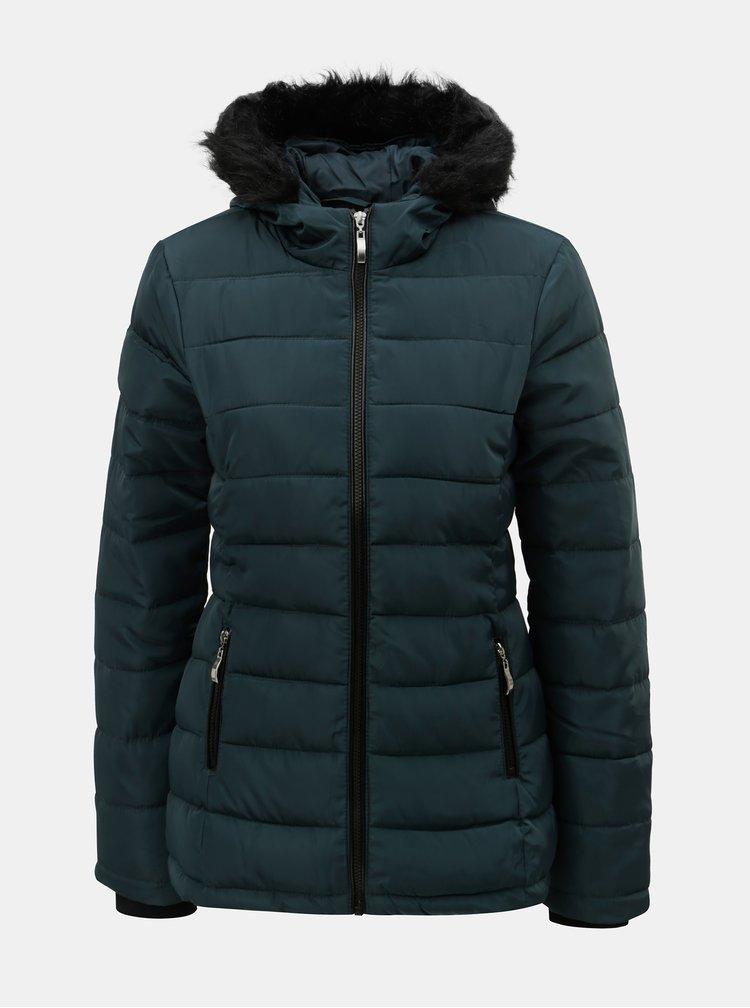 Jacheta petrol matlasata de iarna cu blana artificiala Dorothy Perkins