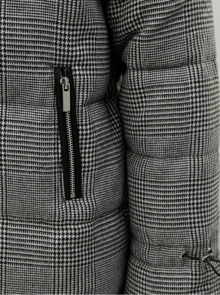 Šedá prošívaná zimní bunda s umělým kožíškem Dorothy Perkins