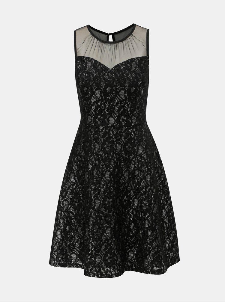 Černé krajkové šaty s průsvitným detailem Dorothy Perkins