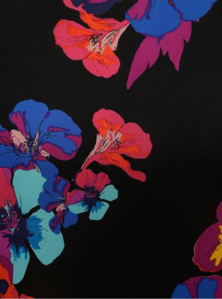 Černá květovaná halenka s překládaným zadním dílem Dorothy Perkins
