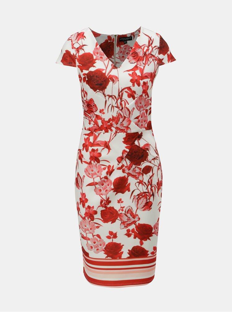 Červeno–krémové puzdrové kvetované šaty Dorothy Perkins