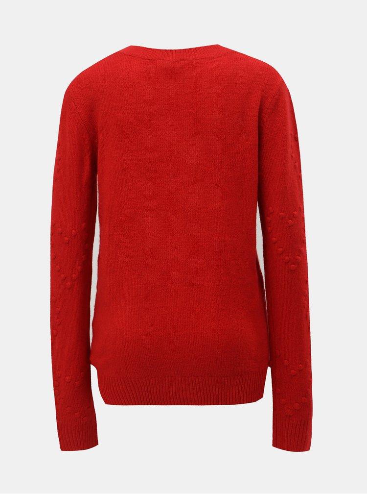 Červený sveter s plastickým vzorom Dorothy Perkins Tall