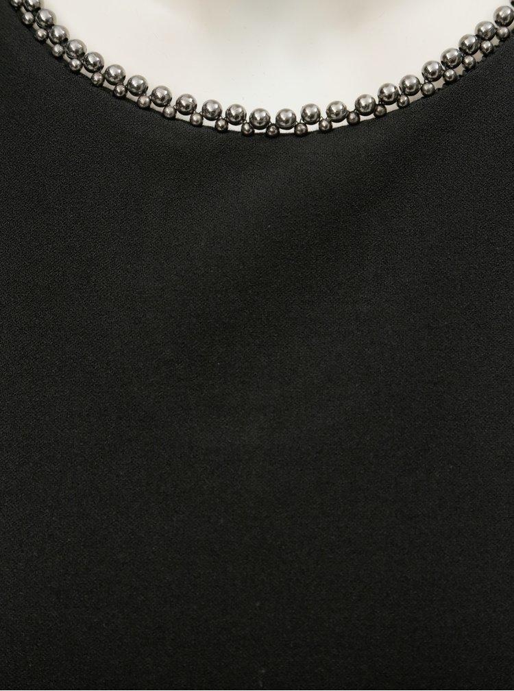 Čierne šaty s ozdobným lemom pri krku Dorothy Perkins