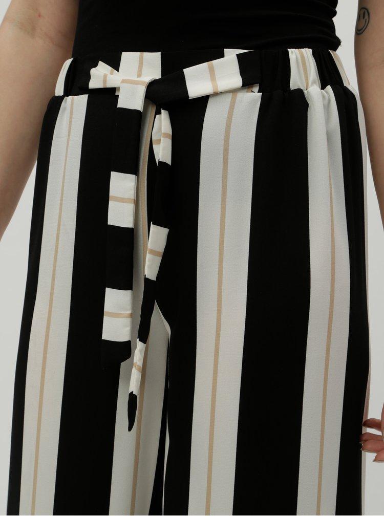 Pantaloni lati crem-negru in dungi cu talie inalta Dorothy Perkins
