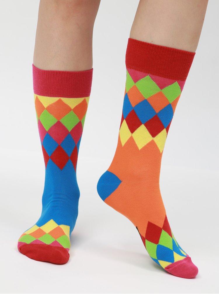 Súprava troch unisex vzorovaných ponožiek v modrej, oranžovej a zelenej farbe Oddsocks Charlie