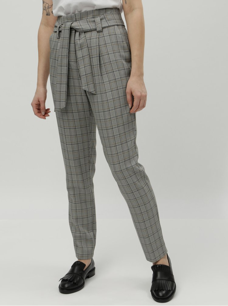 Šedé kostkované kalhoty s vysokým pasem Dorothy Perkins Tall