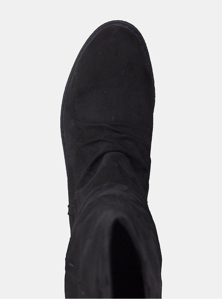 Cizme negre cu aspect de piele intoarsa si platforma Tamaris