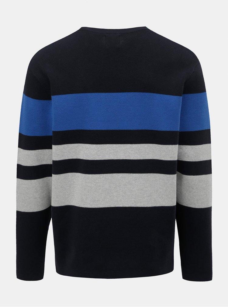 Tmavě modrý pruhovaný svetr Burton Menswear London