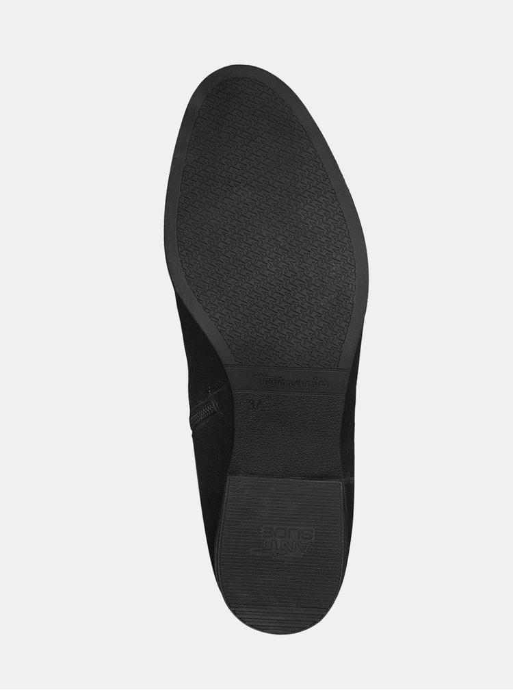 Čierne kožené čižmy s brogue zdobením Tamaris