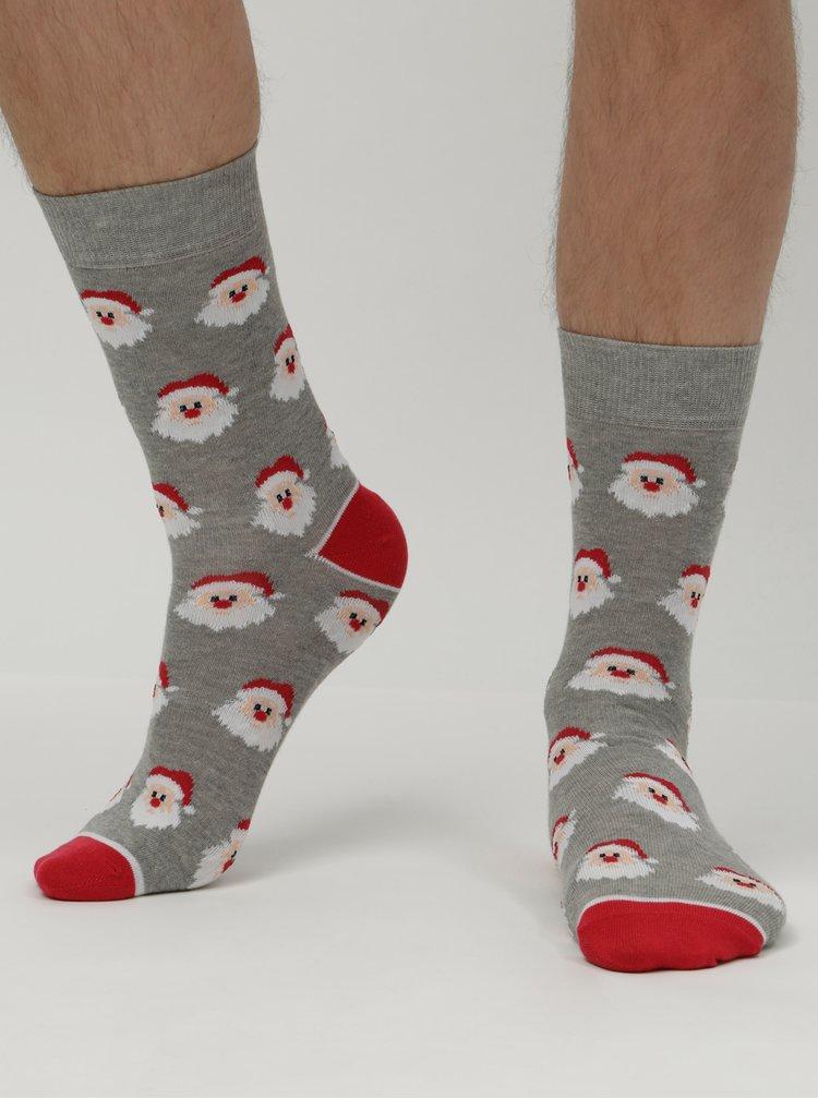 Sivé unisex ponožky s vianočným motívom Burton Menswear London