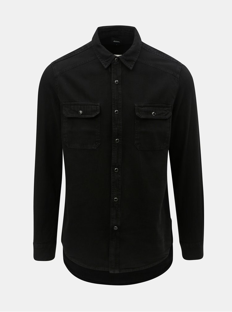 Camasa neagra din denim Burton Menswear London