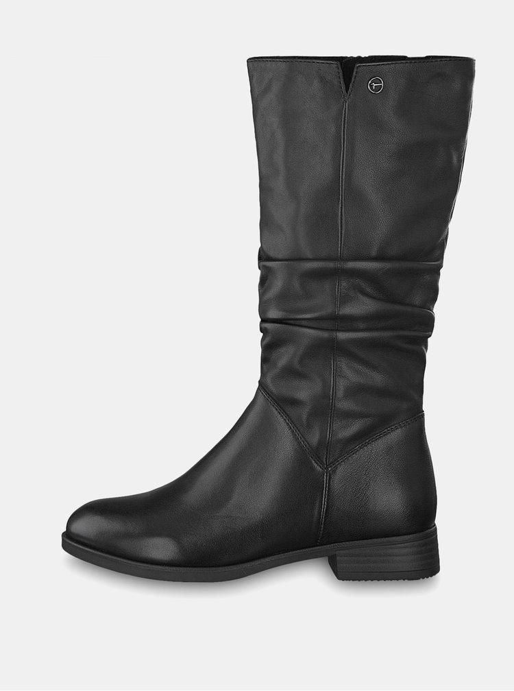 Čierne kožené dámske čižmy s elastickým pásom Geox Lenilla  15a1a6b6964