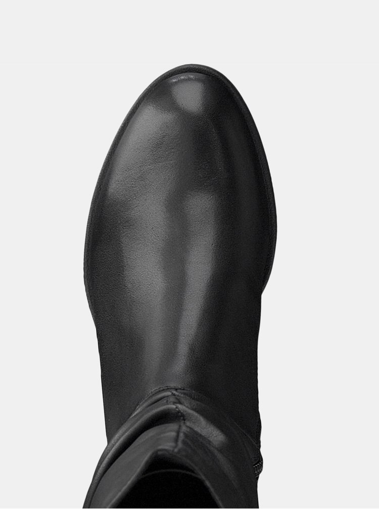 Černé kožené kozačky Tamaris