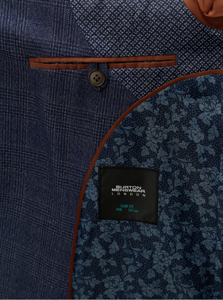 Modré kockované oblekové slim fit sako Burton Menswear London