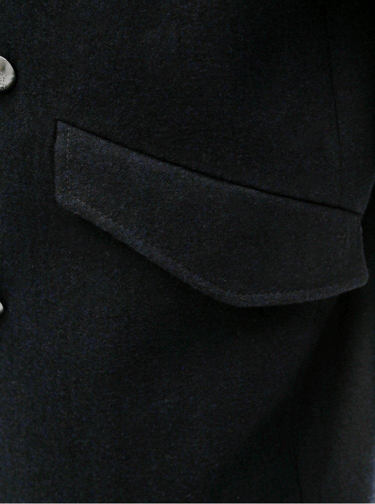 Pardesiu albastru inchis din lana de iarna cu blana artificiala detasabila Burton Menswear London