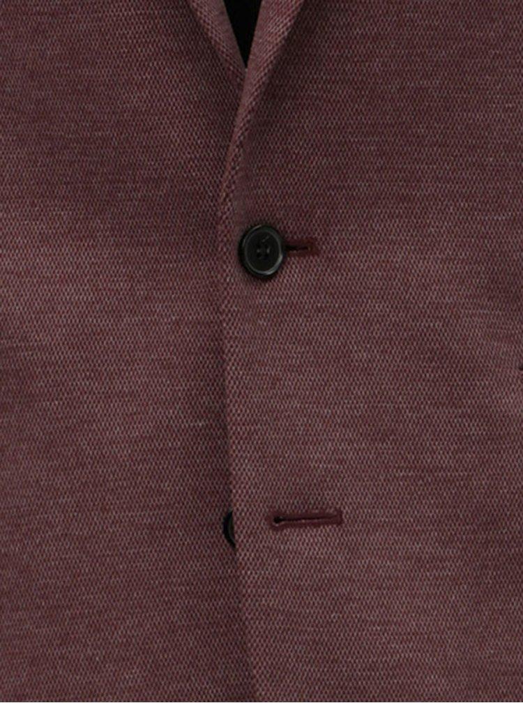 Vínové žíhané oblekové sako Burton Menswear London