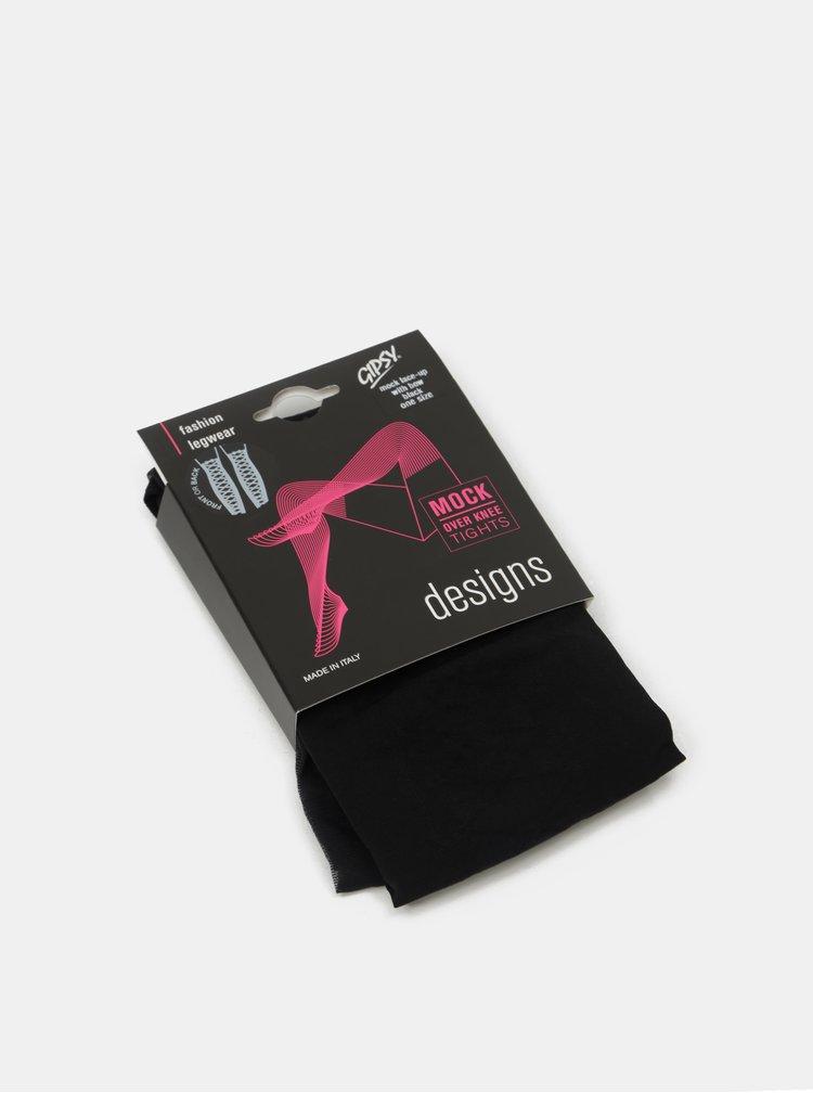 Černé punčochové kalhoty s motivem šněrování Gipsy