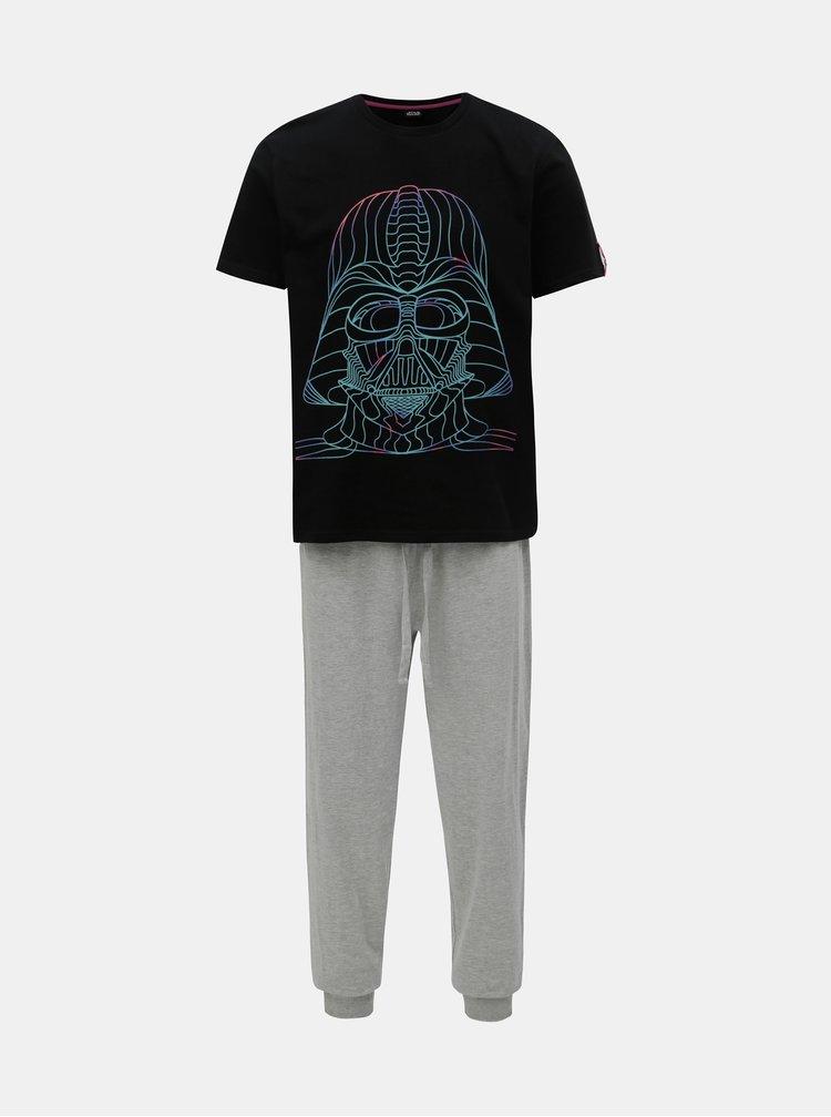 Čierno–sivé pyžamo s motívom Star Wars Burton Menswear London