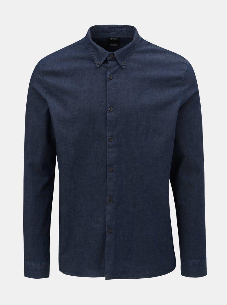 Camasa albastru inchis din denim Burton Menswear London