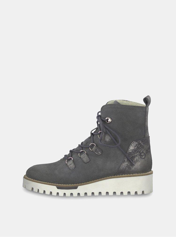 Černé kožené kotníkové boty s brogue zdobením Frau Antic  2dd28bf3630