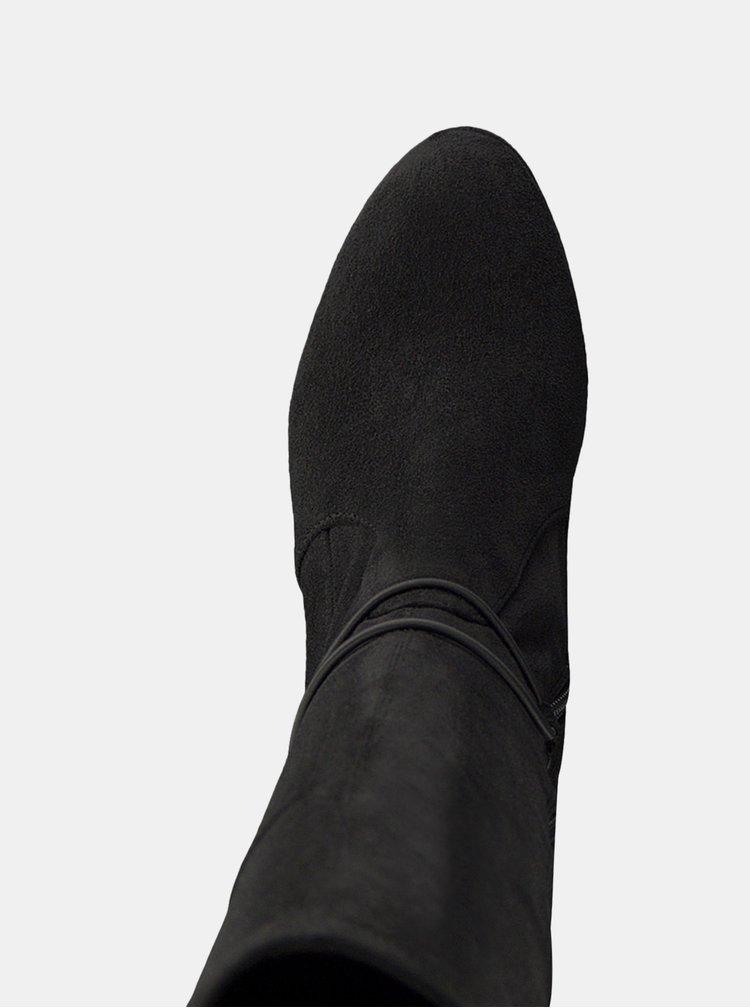 Tmavě šedé kozačky v semišové úpravě na vysokém podpatku Tamaris
