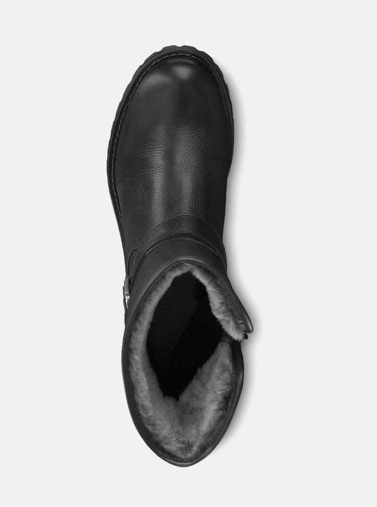 Čierne kožené nízke čižmy so zateplenou podšívkou Tamaris