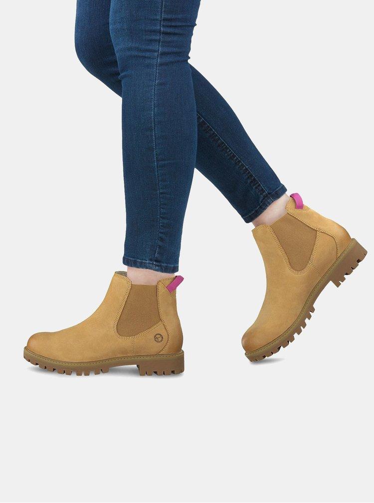 Svetlohnedé kožené chelsea topánky Tamaris