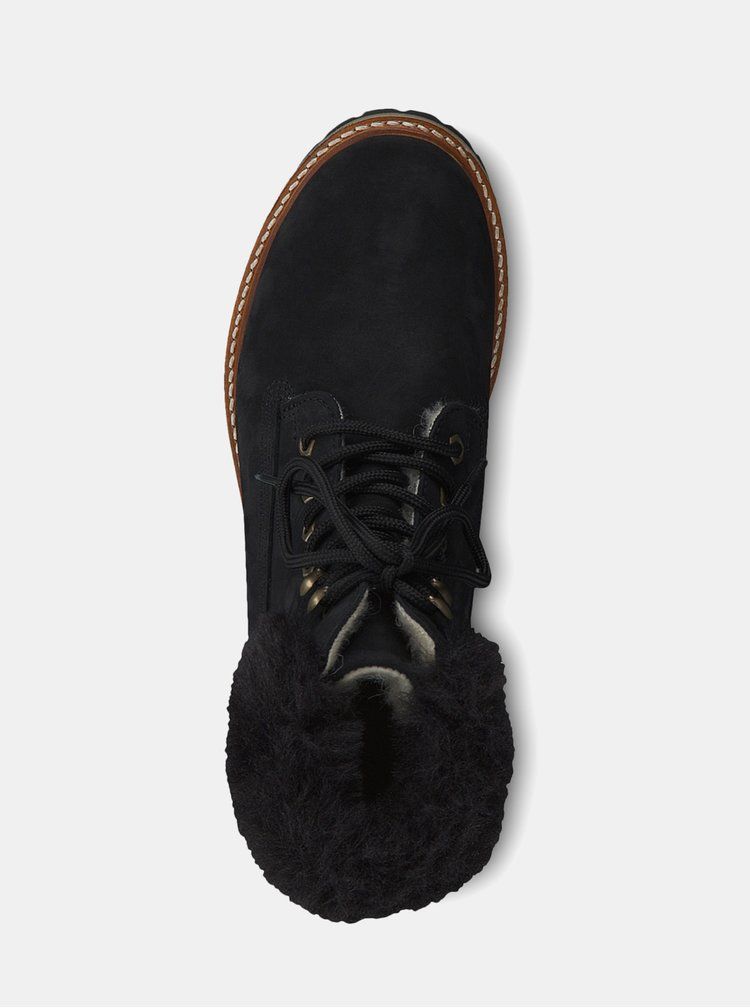 Ghete negre impermeabile de iarna din piele cu dublura din lana Tamaris