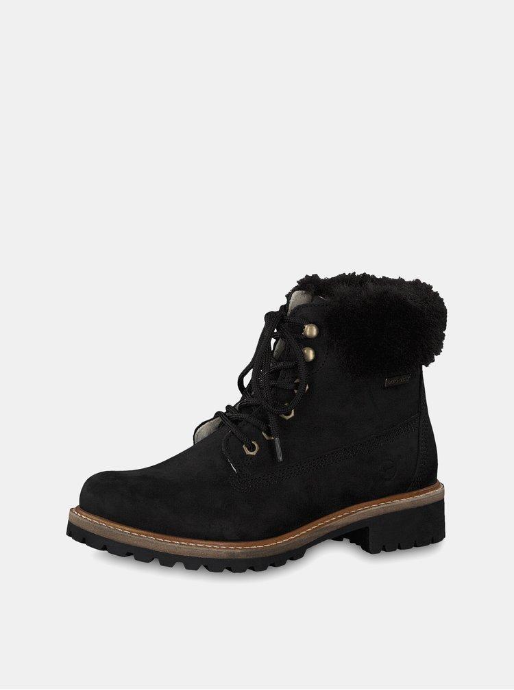 Čierne kožené členkové nepremokavé zimné topánky s vlnenou podšívkou Tamaris