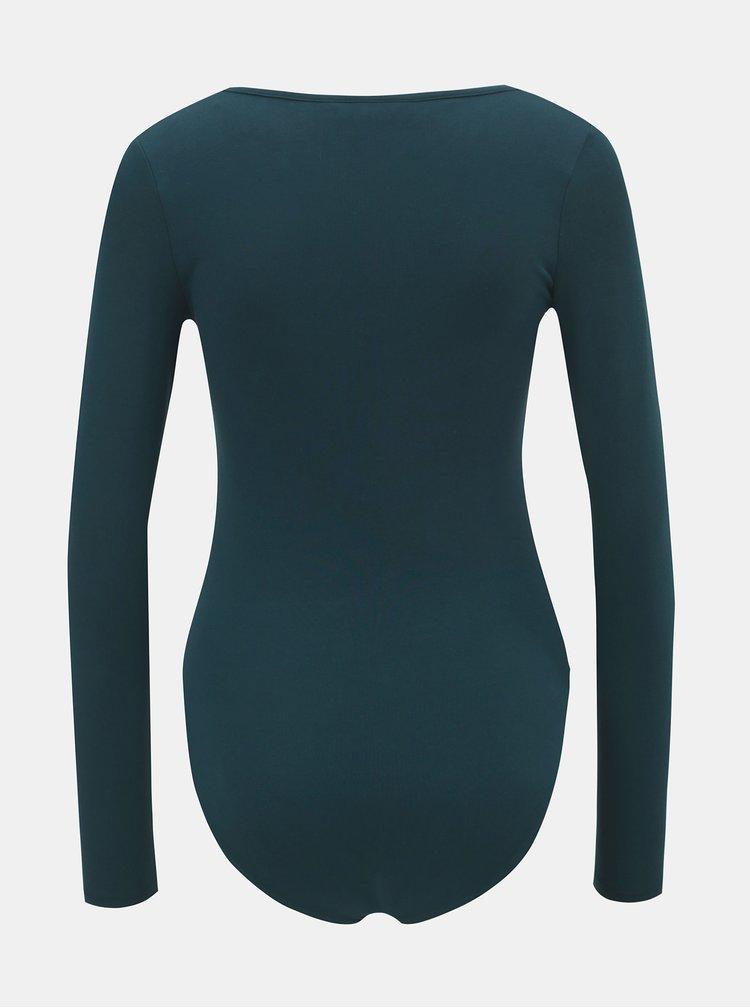 Body verde inchis cu maneci lungi Miss Selfridge