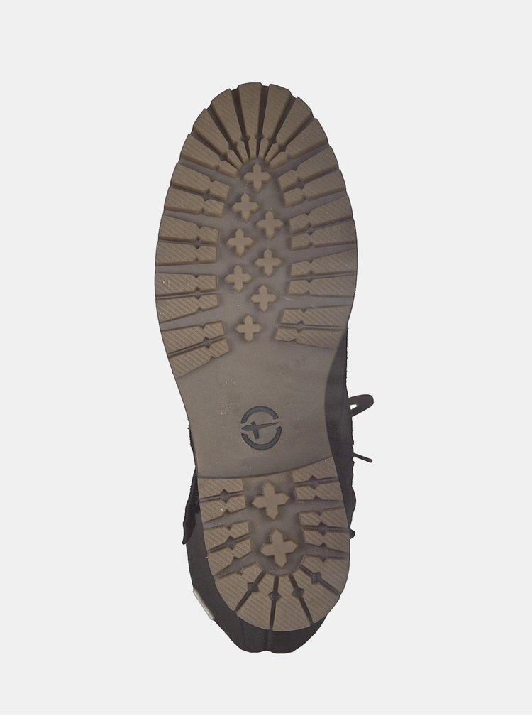 Cizme maro impermeabile din piele intoarsa cu dublura calduroasa din lana Tamaris