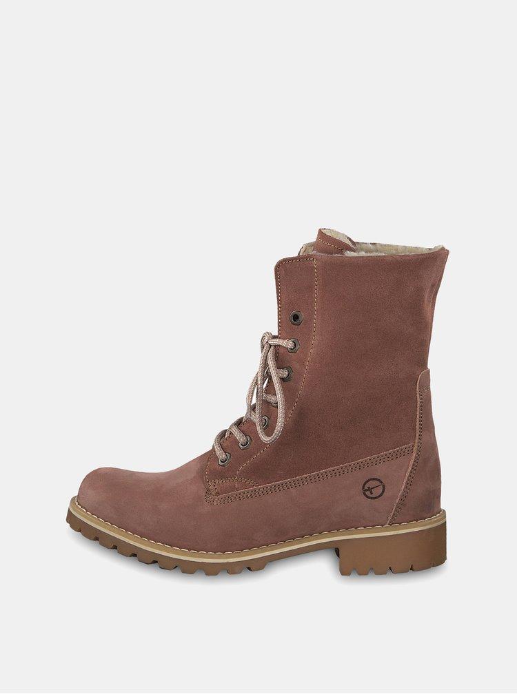 Staroružové semišové členkové nepremokavé zimné topánky Tamaris