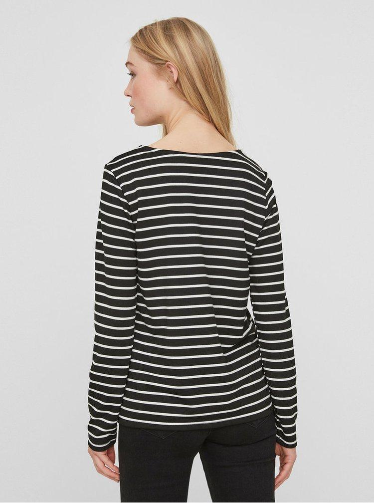 Černé pruhované basic tričko s dlouhým rukávem VERO MODA Nira