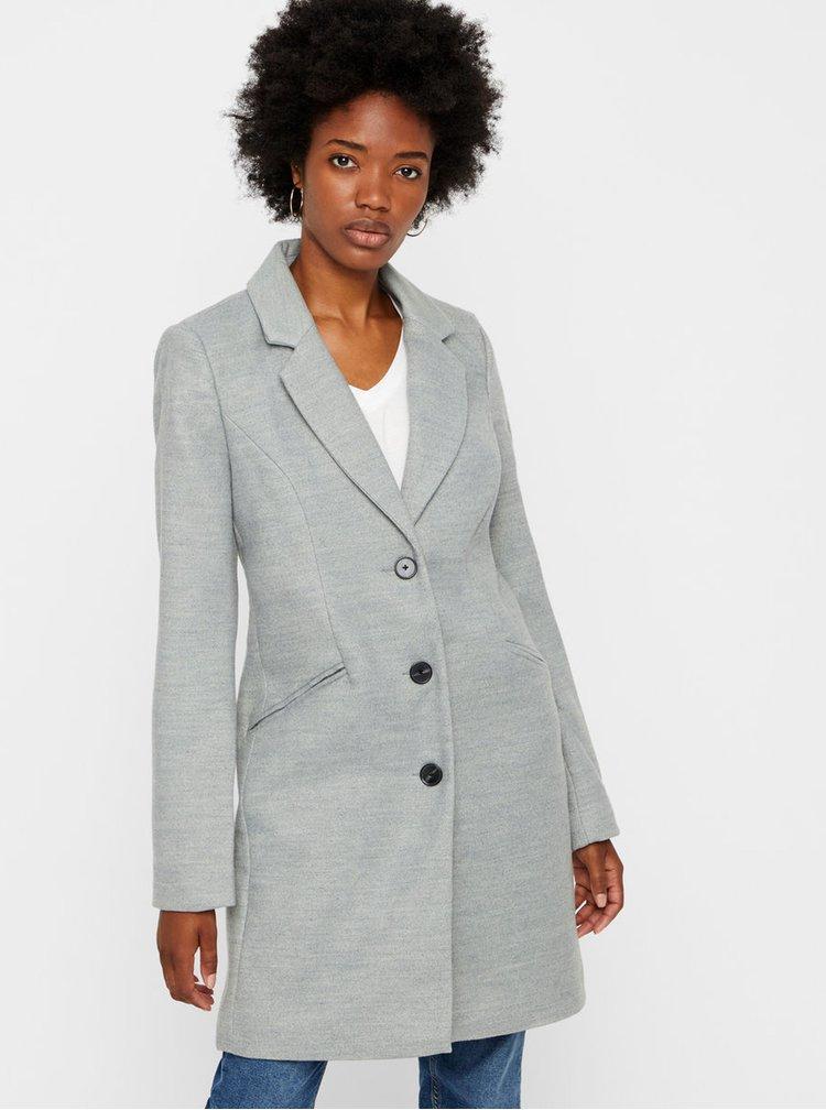 Světle šedý kabát s kapsami VERO MODA