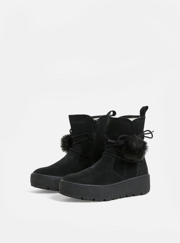 Černé semišové kotníkové zimní boty na platformě Tamaris