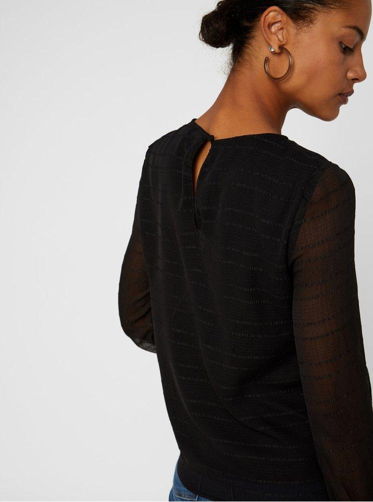 Černá vzorovaná halenka s průsvitnými rukávy VERO MODA Fiona