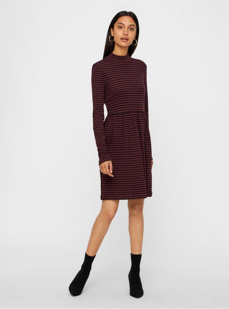 Černo-vínové pruhované šaty VERO MODA