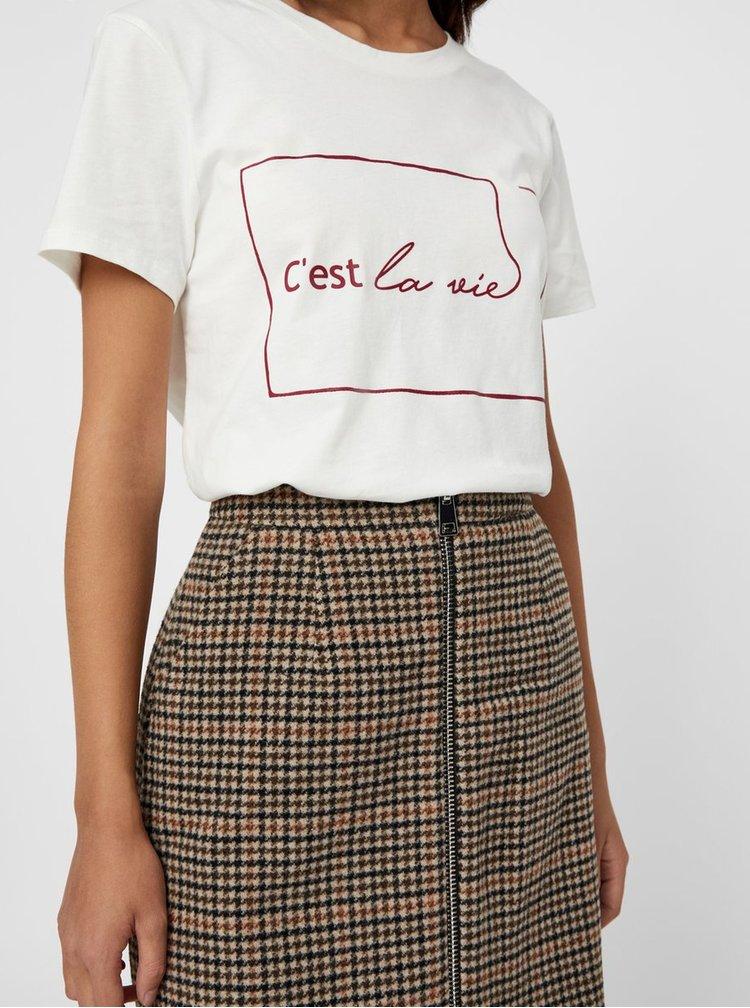 Krémové tričko s potlačou VERO MODA Cestla