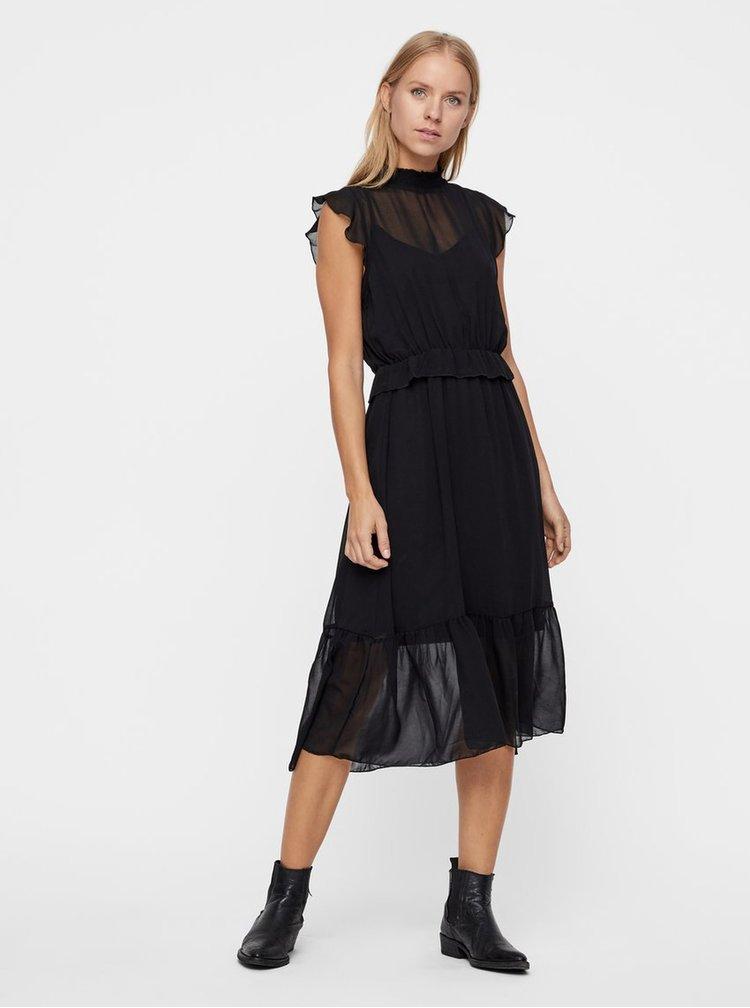 Černé šaty s volány VERO MODA Becca