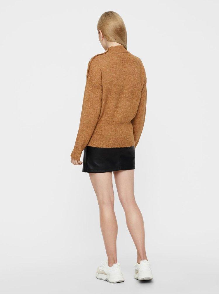 Hnedý melírovaný sveter s gombíkmi v tvare perál VERO MODA Lagoura